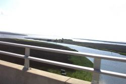 Looking over wetlands as crossing the bridge over northern Bogue Sound. Photo
