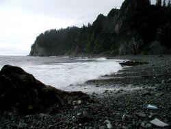 The cobble beach at Point Elrington. Photo
