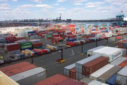 Acres of containers - the largest container port on the East Coast, Port Elizabeth, New Jersey. Photo