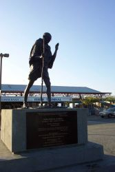A statue of Mohandas Gandhi at the San Francisco ferry boat terminal. Photo