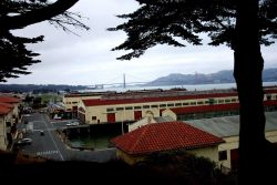 The Golden Gate Bridge as seen over the wharves at Fort Mason. Photo