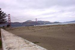 A ship passing under the Golden Gate Bridge. Photo