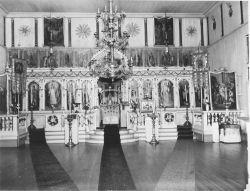 Interior of Russian Orthodox Church at Dutch Harbor. Photo