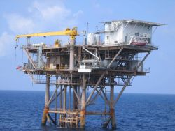 Oil platform in the Gulf of Mexico. Photo