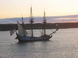 Delaware's tall ship, the KALMAR NYCKEL, sailing into the sunset Photo
