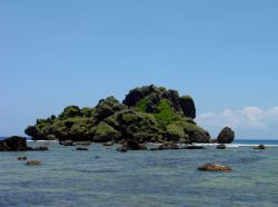 Outline of an offshore Guam islet softened and subdued by erosion and vegetation. Photo