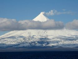 Shishaldin Volcano, one of the great navigational landmarks of Alaska. Photo