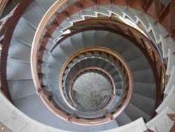 Looking down the spiral staircase of the Patterson Park Pagoda. Photo