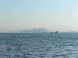 The skyline of New York City on a hazy morning Photo