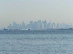 The skyline of New York City on a hazy morning. Photo