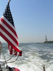 Departing the vicinity of the Statue of Liberty Photo