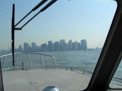A view of the New York skyline from a NOAA Ship THOMAS JEFFERSON survey launch. Photo
