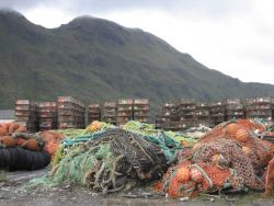 Ubiquitous crab pots and fishing nets at Dutch Harbor. Photo