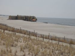 World War II Coast Artillery bunker exposed by retreating dune line at Cape May. Photo