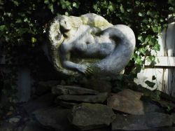 Mermaid sculpture at Mad Batter restaurant on Cape May. Photo