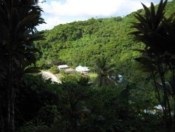 A small village squeezed between mountain and sea on the western coast. Photo