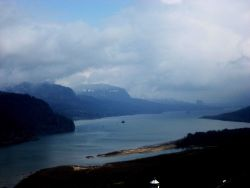 Looking up the Columbia River in the Columbia River Gorge. Photo