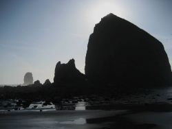 Haystack Rock at Cannon Beach at low tide Photo