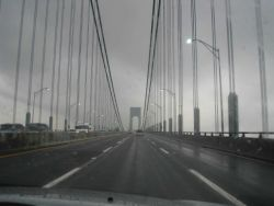 Crossing over Verrazano Narrows Bridge from Staten Island to Long Island. Photo