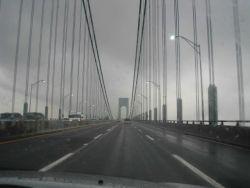 Crossing over Verrazano Narrows Bridge from Staten Island to Long Island. Photo