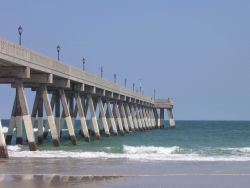 Johnie Mercer's Fishing Pier, a concrete structure, has replaced an older wooden pier that was destroyed in a hurricane. Photo