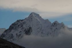 A mountain peak in the vicinity of Johns Hopkins Glacier. Photo