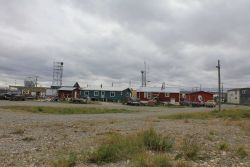 Homes and communications antennas at Teller. Photo