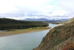 A view along the Peel River along the Dempster Highway. Image