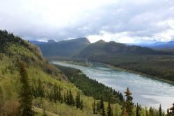 A view along the Yukon River looking towards the area of the Den of the Giant Frog, Ts'al Cho An in northern Tutchone, an Athabascan native language Image