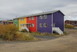 Downtown inner city Inuvik near the delta of the MacKenzie River. Photo