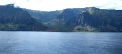 A view from offshore of the Na Pali coast, along the northwest shore of Kauai. Image