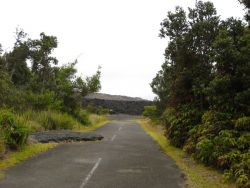 Looking up the now dead end road to the aa lava flow of January 1974. Photo