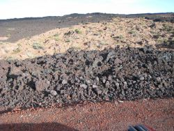 Contrasting colors of aa lava flows Photo