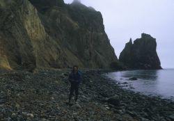 Allen Shimada beachcombing on Unimak Island Image