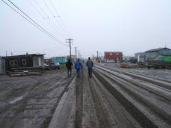 Walking down the main street of Barrow. Photo