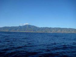 A view of the California coastline, perhaps in the Santa Barbara Channel. Photo