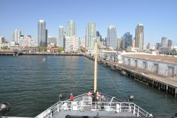The bow of the NOAA Ship BELL SHIMADA approaching Broadway Pier. Photo