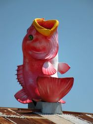 Fish adorning seafood restaurant in Pascagoula area. Photo