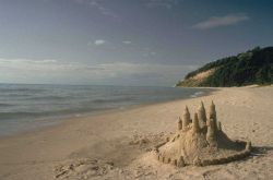 A sand castle on the beach at Sleeping Bear Dunes National Lakeshore. Photo