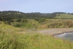 A stream valley leading to the Coast Ranges, coming to the sea at a small cove near Fort Ross. Photo