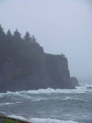 Surf-battered cliffs at Fort Abercrombie State Historical Park. Photo