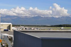 Anchorage Airport seen from the terminal. Photo