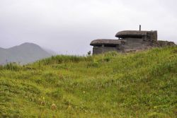World War II concrete lookout bunker overlooking the harbor. Photo