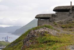 World War II concrete lookout bunker overlooking the harbor Photo