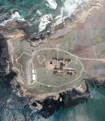 Aerial view of Point Piedras Blancas and the lighthouse complex. Photo