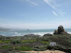 A view of the landmarks researchers use for guiding each other to find whales in the water at Point Piedras Blancas Photo