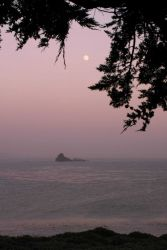 Moonset over Point Piedras Blancas and the central California coast Photo