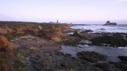 Looking south to the Point Piedras Blancas lighthouse over the shoreline at a medium tide Photo