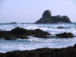 Rocks and surf offshore from Point Piedras Blancas. Photo