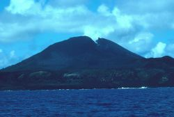 Pagan Volcano showing the crater breach that occurred during a 1981 eruption. Photo